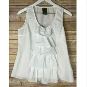 FEI by ANTHROPOLOGIE White Sleeveless Shirt Tank
